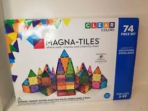 MAGNA - TILES Clear COLORS 74 Piece Set #14874 Math, Science, Art  NEW Open Box