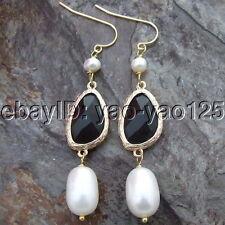 H011815 White Pearl Black Crystal Earrings- Gold Plated Hook