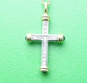 SUPERB 18CT YELLOW & WHITE GOLD DIAMOND CROSS WITH NECKLACE