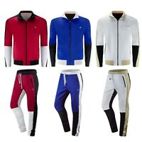 NEW Men Tri-Tone Track Set Solid Colors Zipper Jacket Pants Stripe Sizes M-2XL