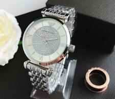 Women's Stainless Steel Dress Round Crystal Wristwatch
