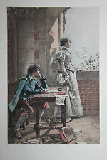 1884 Estampe originale Adrien Moreau La Mie du Poete / pour Uzanne sur Japon