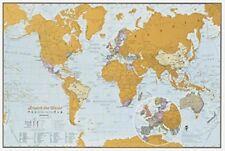 Mapa del mundo viaje edición rayar la impresión A3 Viaje Tamaño 29.7 (W) x 42.0 (H) cm