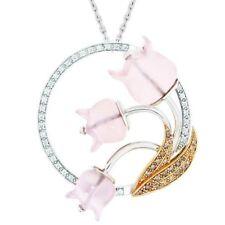 LALIQUE Muguet 18k Gold & Diamonds with Rose Quartz Pendant Necklace