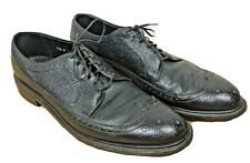 Dr Scholl Copeg Custom Grade Black Leather Pebble Grain Wingtips - Men's 11.5 A