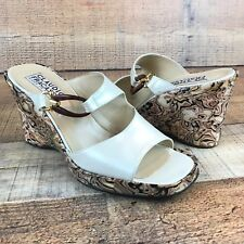 Claudio Fracassa Wedge Heel Sandal - Mother of Pearl - US Size 8.5 Euro Size 39