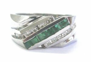 Fine Men's Green Emerald & Diamond White Gold 3-Row Ring 1.16Ct