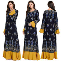 Muslim Abaya Maxi Dress Women Print Flower Islamic Kaftan Party Loose Dubai Robe