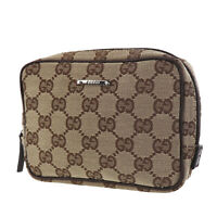 GUCCI Original GG Pouch Bag Brown Canvas Italy Vintage Authentic #AC644 O