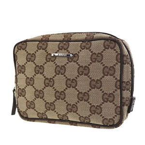 GUCCI Original GG Used Pouch Bag Brown Canvas Italy Vintage Authentic #AC644 O