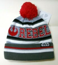 NWT STAR WARS Rebel STRIPED KNITTED BEANIE HAT with red POM sz- ONE SIZE