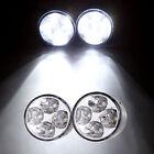 White 4 LED Round Daytime Driving Running Light DRL Car Fog Lamp Head Lights