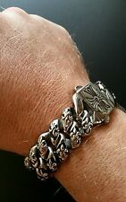 "Stainless Steel 316L Bracelet 8.5"" 126 grams 18mm wide Heavy fleur de lis E1478"