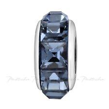 Lovelinks Bead Silver, Swarovski Dark Blue Pyramid Cut Crystals Charm TT641DBU