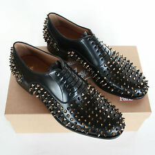 CHRISTIAN LOUBOUTIN studded Bruno Spikes oxfords gold metal stud shoes 42/9 NEW