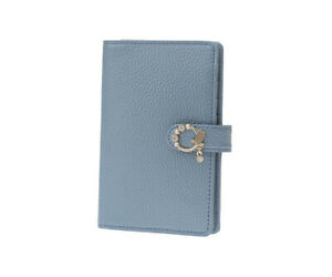 LANVIN en Bleu Muguet Card Holder Leather Wallet 6 Card Pockets Blue gray