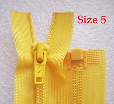 New JET 23cm size 5 Nylon Yellow Fashion Dress Zip / Zipper Open End