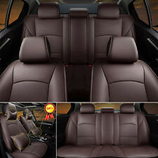 For Ford F-150 2010-2016 PU Leather Seat Cover Coffee Front+Rear+Pillow Full Set
