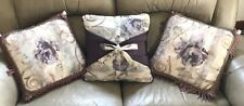 "Croscill Chambord Amethyst Square Accent Throw Pillows 17"" Purple Floral ""Three"""
