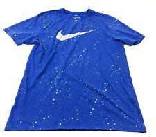 Nike Éclaboussures Chemise Taille L Athlétique Coupe Bleu Blanche Courte Adulte