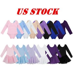 Girl Kids Ballet Gymnastics Dance Leotard Dress Long Sleeve Tutu Skirt Costumes