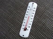 altes Emaille Blech Schild mit Glas Skala Thermometer um1940 Email Wetterstation