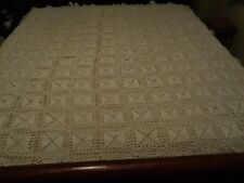 "Vintage Antique Older Hand Crocheted 80"" x 80"" Afghan Bed Spread Frill 3 Edges"