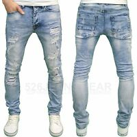 Eto Mens Designer Branded Shredded Ripped Slim Fit Stretch Distressed Jeans BNWT