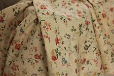 Fabric Antique French trailing vine & floral block printed cotton material c1900