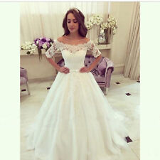 Tulle&Lace A-line white/ivory with short sleeves bridal Wedding dress custom
