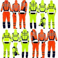 HI VIS VIZ MEN'S NEW TROUSERS SAFETY WORK WEAR JOGGING BOTTOMS PANTS HOODIE TOP