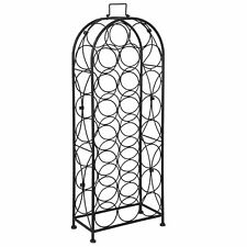 Arched Metal Wine Rack Stand 23 Bottles Free-Standing Black Elegant Wine Storage