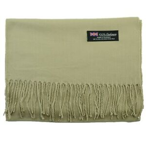 Men Women unisex 100% CASHMERE Made in Scotland Warm wrap Wool Scarf pure solid