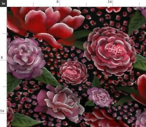 Pink Black Leaves Red Floral Purple Spoonflower Fabric by the Yard