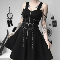 Women Black Zipper Pleated Strap Dress Gothic Street Punk Wind Cosplay Dresses S
