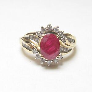 KEEPSAKE Estate 14K Yellow Gold 1.50 Ct Natural Oval Apple Red Ruby Diamond Ring