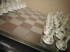 Glass Chess Set Elegant Pieces and Checker Board Game Clear + White Frosted