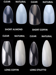Full Cover False Nail Tips - Natural Clear Stiletto Almond Display Coffin