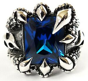 BLUE SAPPHIRE DRAGON CLAW STERLING 925 SILVER RING