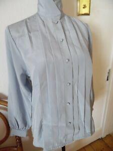 Vintage High Neck Light Grey Blouse sz 14