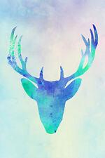 Deer Head White Tailed Mule Black Tailed Elk Reindeer Watercolor Poster - 12x18
