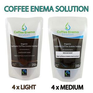 COFFEE ENEMA SOLUTION LIGHT GOLDEN & MEDIUM AIR ROASTED ORGANIC GERSON FAIRTRADE