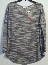 NWT Women's Olive & Oak Black/White 3/4 Sleeve Sheer Dolman Sweater Shirt Large