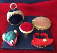 Vintage Sewing Pin Cushions Florenza Mushroom Chinese Silk Wristlet Ornament Vel