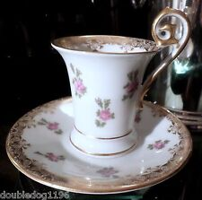 ANTIQUE T&V TRESSEMANN & VOGT FRANCE LIMOGES EMPIRE ROSEBUD CUP & SAUCER SET