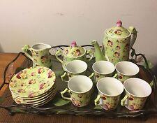 Tea Set Service For 6 Ceramic W/Tray 18 Piece