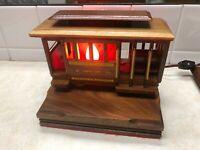 Vintage San Francisco Cable Car Wooden Desk Lamp