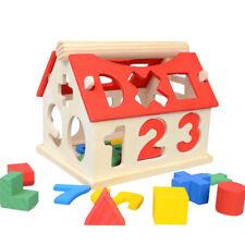 1Set Bois Blocs Construction Maison Chiffre Jeux Éducatif Jouets Enfants Bébé NF