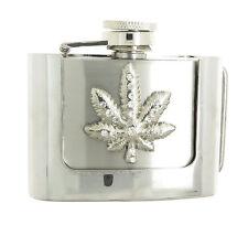 Rhinestone Marijuana Leaf 2 oz Stainless Steel Flask Belt Buckle