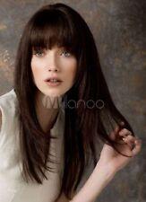 100% Real Hair! Dark Brown Straight Women's Long Wig With Bangs